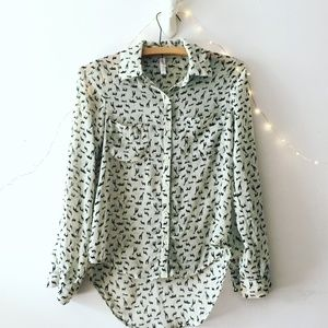 animal print sheer button down top